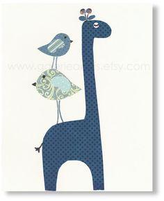 Nursery art prints, baby nursery decor, nursery wall art, children room decor, kids art, personalized, Giraffe Birds, Elegance 8x10 print via Etsy