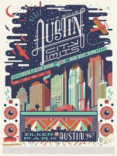 Vintage-style Austin City Limits poster by Anderson Design Group. I'm mostly impressed with the type in this poster, has a western feel, I like the contrasting thick and thin strokes of the letterforms. Musikfestival Poster, Poster Layout, Design Poster, Design Art, Print Design, Poster City, Poster Designs, Festival Posters, Concert Posters