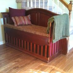 """I just couldn't part with the baby bed that was used by both of my girls. So I repurposed it into a bench that I have sitting in my entry. I was able to keep the part where they """"practiced"""" chewing & noted each girl's name on their bite marks. It is now 1 of my treasured pieces of furniture.  follow our blog at http://meanstreetsliving.com"""