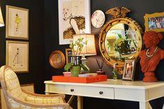 Gorgeous Black Walls & a beautiful eclectic mix of treasures. via Life in Grace Home Bedroom, Master Bedroom, Bedroom Decor, Bedroom Ideas, Bedroom Corner, Life In Grace, Dark Walls, Interior Design Tips, Design Ideas