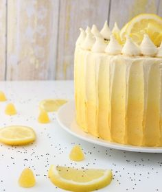 lemon poppy seed cake with lemon curd.