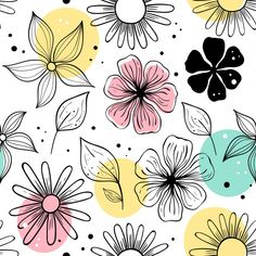 Shop Sweet Scandinavian Style Floral Pattern Doormat created by Pennysprettythings. Pattern Art, Pattern Design, Vector Pattern, Pattern Flower, Flower Pattern Drawing, Design Design, Free Pattern, Motif Floral, Floral Prints