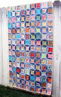 jeans quilts | Denim Circle Rag Quilt-Recycled Jeans!