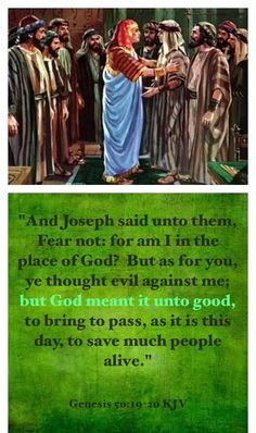 Joseph may take revenge on them. Joseph tells them not to fear. Joseph's Brothers, Genesis 50 20, Romans 8 28, All Things Work Together, Bible Pictures, Gods Not Dead, Memory Verse, Old Testament, Jesus Is Lord
