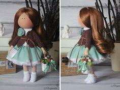 Hecha a mano muñeca suave marrón verde muñeca por AnnKirillartPlace