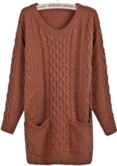 Khaki Long Sleeve Cable Knit Pockets Sweater US$32.79