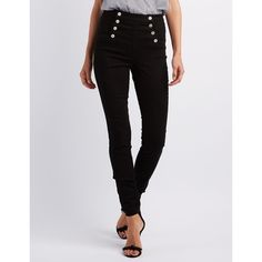 Refuge Skinny Sailor Jeans ($33) ❤ liked on Polyvore featuring jeans, black, high-waisted skinny jeans, super skinny jeans, skinny leg jeans, denim skinny jeans and high waisted jeans