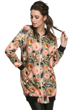 Finejo Cool Fashion Women Floral Spring Autumn Long Jacket