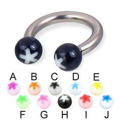 Acrylic flower ball titanium circular barbell, 10 ga