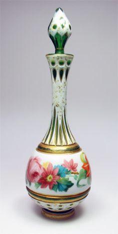 Bohemian Cut Art-Glass Bottle with Stopper & Gorgeous Floral Decoration (enamel)★༺❤༻★