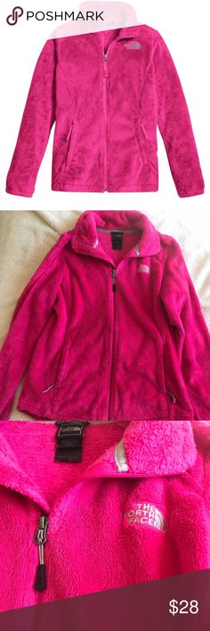 North Face Hot Pink Osolita Fleece Jacket Size M Super soft and fuzzy Women's North Face Jacket in the Osolita style. It is a full zip up jacket with two pockets that also have zippers. Gorgeous hot pink color!  Size M  Excellent condition (barely worn) The North Face Jackets & Coats