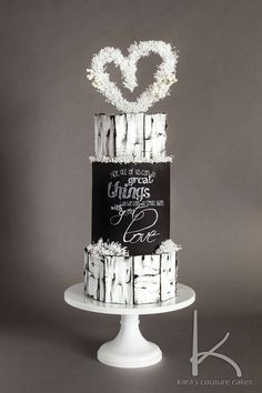 There are several means to place a finishing touch in your own cake decorating job. Employing these things allow you to liven up a plain cake. Beautiful Wedding Cakes, Beautiful Cakes, Amazing Cakes, Crazy Cakes, Fondant Cakes, Cupcake Cakes, Chalkboard Cake, Woodland Cake, Couture Cakes