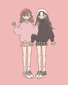 Cute Art Styles, Cartoon Art Styles, Anime Friendship, Korean Art, Cute Chibi, Cute Cartoon Wallpapers, People Art, Coreldraw, Character Design Inspiration