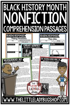 Grow your students knowledge of Influential Black Leaders with these Nonfiction Reading Comprehension Passages. These reading passages are wonderful for your students to study these influential leaders including Dr. Martin Luther King, Jr, Oprah, and more! Perfect for 3rd grade, 4th grade, and 5th grade students. #blackhistoryreadingpassages
