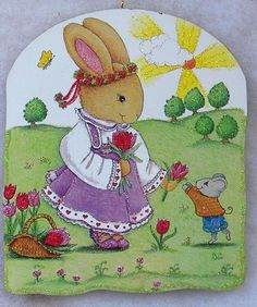 Bunny PickingTulips Mouse Vtg Easter Greeting Card Glittered Wood Ornament