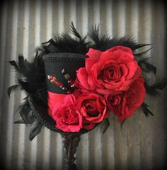 Mini Top Hat Kentucky Derby Hat Red Rose Hat Queen of by ChikiBird