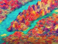 """LEGO New York, Design Based on Maps & Satellite Imagery """" New York artist and motion designer J. Schmidt created a beautiful LEGO New York topographical design by using various elevation. Schmidt, New York City Map, New York Art, Legos, Image Internet, Ville New York, Web Design, Graphic Design, Design Inspiration"""