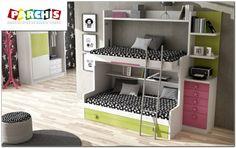 una gran litera de tres camas, un modelo abajo con cama nido tipo diván con dos camas , y arriba cama alta abatible supletoria, ideal para invitados