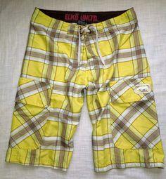 Sz Large #Ecko  #SwimTrunks Yellow #Plaid #CargoShorts #Men   #Boys