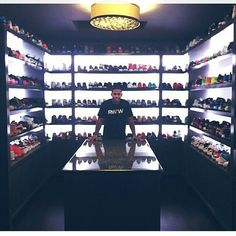 NFL star Victor Cruz shows us his amazing sneaker collection. Take a look. Shoe Room, Shoe Closet, Closet Rooms, Shoe Wall, Closets, Sneaker Storage, Shoe Storage, Hypebeast Room, Game Room Basement