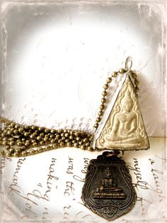 Buddhist Amulet Necklace Soldered Clay Tablet Buddha by Mystarrrs
