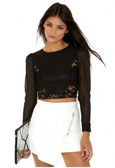 Felisha Lace And Chiffon Contrast Top - Tops - Going Out Tops - Missguided