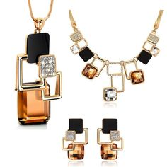 Golden Geometric Jewelry Set  #girlsfashion #girlsaccessories #luxury #womenstyle #casualstyle