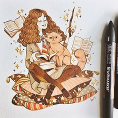 Some of the best fan art of Hermione, and the unique way each artist see and draws her. Arte Do Harry Potter, Harry Potter Drawings, Harry Potter Universal, Harry Potter Characters, Harry Potter Memes, Potter Facts, Hermione Granger Drawing, Harry Potter Hermione Granger, Ginny Weasley