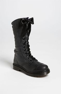 Dr. Martens 'Triumph' Boot available at Nordstrom: love the combination of tough-looking boots with satin ribbon instead of laces! <3