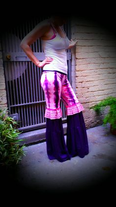 Hand Dyed Pink and Purple Tie Dye Flow Dance Pants by BlissBus, $98.00
