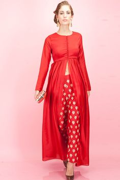 Red front slit tunic and trishul embroidered pants available only at Pernia's Pop-Up Shop.