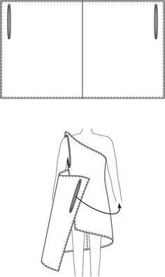 super einfaches Wickelkleid: ein Rechteck mit zwei Schlitzen für die Arme - super für den Strand!