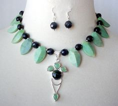 Semiprecious Green And Black Statement Necklace by laiseoriginals