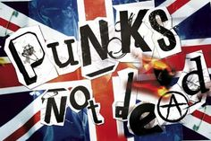 Flaming Union Jack  Punks Not Dead Poster