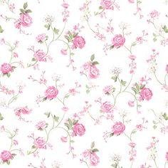 Papel de Parede Galhos verde, Flores Rosa Sobre Fundo Branco - Papel de Parede Digital