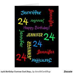 24th Birthday Custom Card Any Name, Black