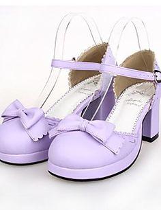 81f7df73c6a Light Purple PU Leather 6.5CM High Heel Sweet Lolita Shoes With Row Kawaii  Shoes