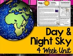 Day and Night Sky unit for lower elementary that included lesson plans, activities, vocabulary cards, poster, writing prompts, extension activities, and much more. Lesson plans are laid out in an easy to understand format with assignments for each day along with extra activities to use throughout unit.