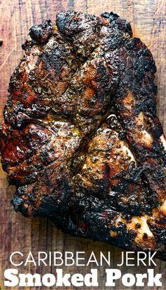 Jerk Pork Shoulder Recipe, Smoked Pork Shoulder, Pork Shoulder Recipes, Traeger Recipes, Smoked Meat Recipes, Grilling Recipes, Pork Recipes, Smoked Pork Steak Recipe, Smoked Pork Roast