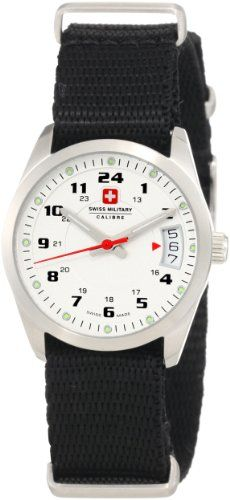 Swiss Military Calibre Women's 06-6T1-04-001 Trooper Silver Dial Canvas 24-Hour Date Watch