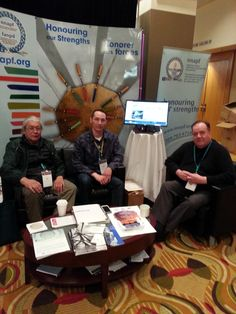 Assembly of First Nations Health Forum Chief Maracle of Tyendinaga Mohawk Nation and Councillor Bell of Batchewana First Nation visit with NNAPF's (now Thunderbird Partnership Foundation) Stakeholder Coordinator Raymond Deleary at the NNAPF booth. First Nations, Foundation, Events, Health, Health Care, Salud, Foundation Series