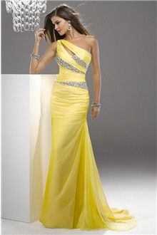 Sheath/Column One Shoulder Court Train Chiffon Prom Dress