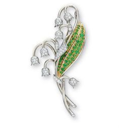 A DIAMOND AND GARNET 'LILY-OF-THE-VALLEY' BROOCH, BY TIFFANY & CO.