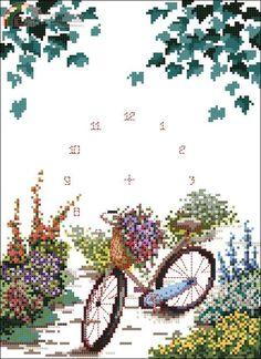 Bike Cross-stitch Clock Face.
