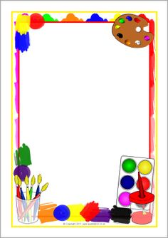 Painting-themed A4 page borders (SB5756) - SparkleBox