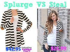 Splurge VS Steal: Striped Cardigan with Elbow Patch as low as $24.99 Compared to $42.95 - Short Cut Saver
