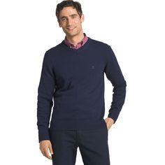 Men's IZOD Fieldhouse Regular-Fit V-Neck Sweater, Size: Medium, Dark Blue