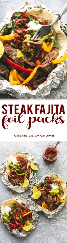 Easy flavor-loaded steak fajita foil packs make the best no-fuss Summertime dinner! These tasty foil packs are perfect for cookouts, grilling, and camping. | lecremedelacrumb.com