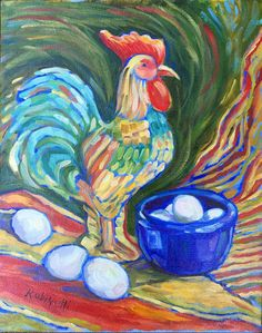 Rooster Eggs kitchen still life 11 x 14 colorful by RubinettiArt