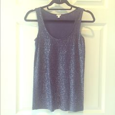 J Crew navy sequin tank Navy blue cotton tank with shimmery sequins. Super cute! Can dress it up or down. Great condition. Size XS J. Crew Tops Tank Tops